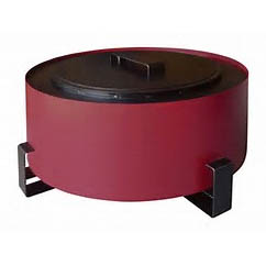 "Breeo Industries Luxeve 24"" Smoke Less Fire Pit with Lid & Glass, Red"