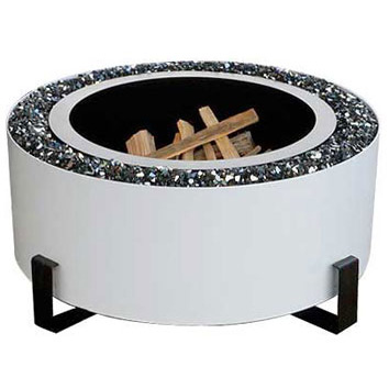 "Breeo Industries Luxeve 24"" Smoke Less Fire Pit with Lid & Glass, White"